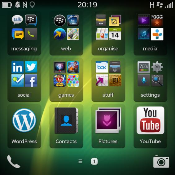 BlackBerry Q10 Folders