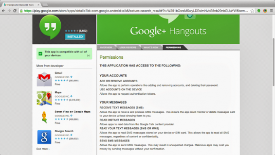 Google Hangouts   now featuring SMS?
