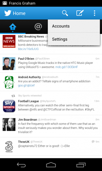 Twitter for Android updated, menu option added