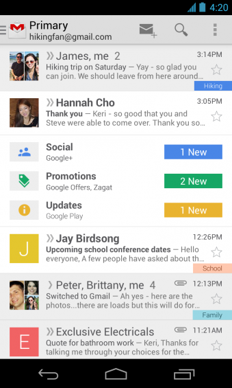 Gmail update brings multiple inboxes