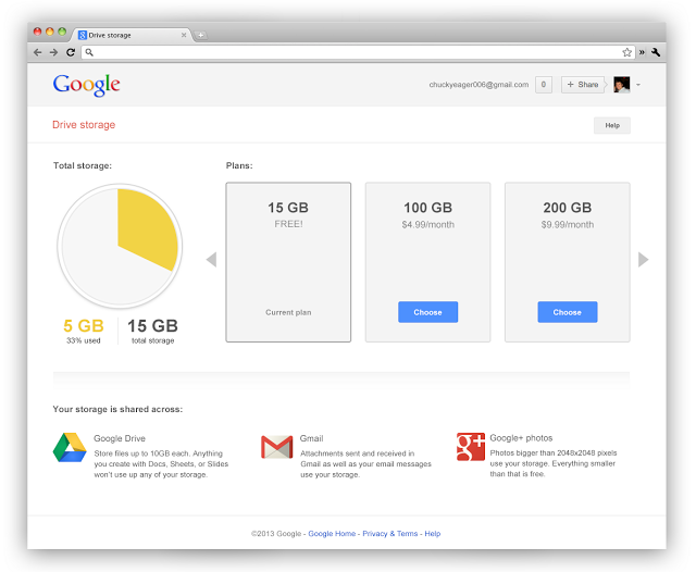 Google combines Gmail & Drive storage...15GB shared space for all