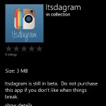 Itsdagram is back on the Windows Phone Store
