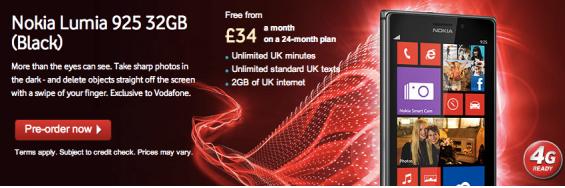 Vodafone starts Lumia 925 pre orders