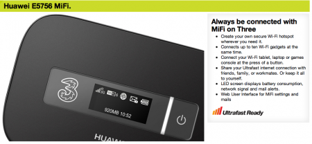 Ultrafast MiFi now available on Three