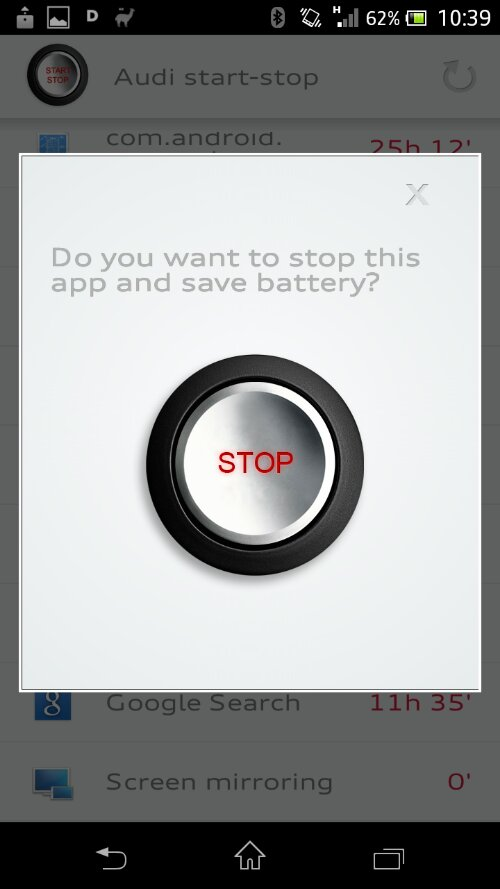 Audi release an app to save battery life.. in your phone
