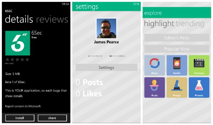 6Sec is an unofficial Vine app for Windows Phone