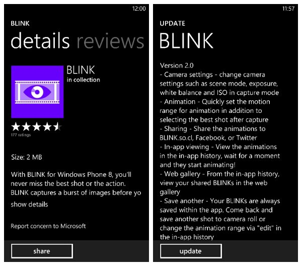 Microsoft update their burst mode camera app Blink