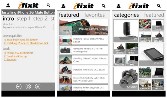 iFixit is now available for Windows Phone