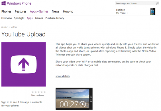 YouTube upload app comes to WP8
