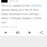 HTC One receiving Android 4.2.2 update