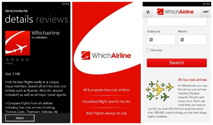 WhichAirline app is now available for Windows Phone