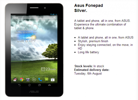 Asus Fonepad now available on Three UK