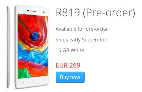 Oppo Style already have the R819 up for pre order