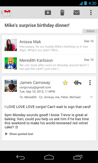 GMail for Android update in progress