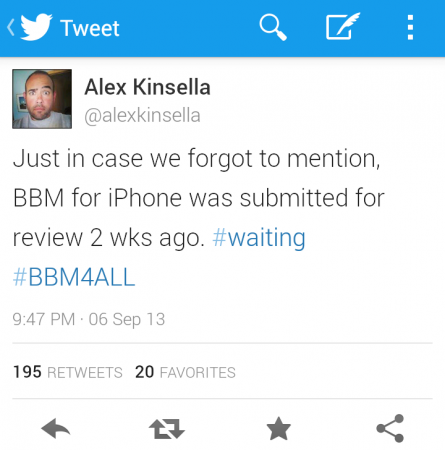 BBM submitted to app store