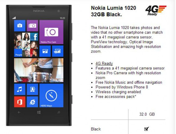Nokia Lumia 1020 on Three   £549.99 PAYG