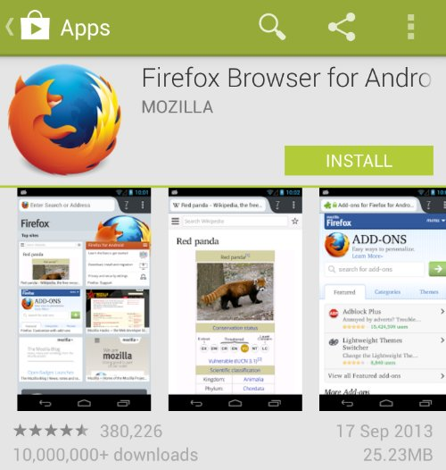 Firefox Browser for Android gets updated