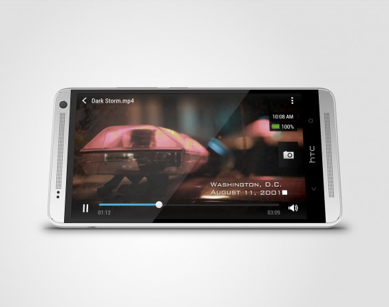 HTC One max Glacial Silver  Horizontal Oblique