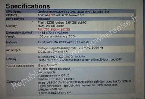 Yet more HTC One Max specs for your collection