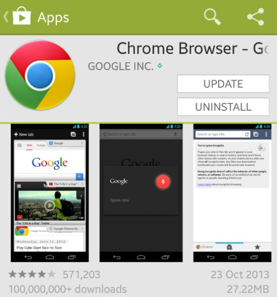 Chrome Browser for Android updated to include swiping between tabs