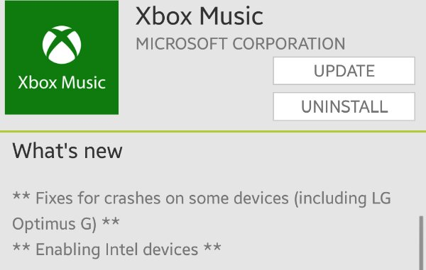 Xbox Music for Android adds Intel chip support