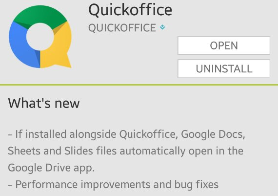 Quickoffice for Android gets an update adding better Drive integration