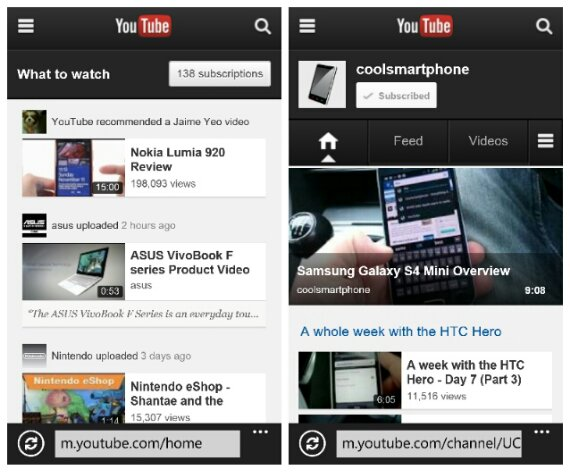 YouTube for Windows Phone reverts to the old web version