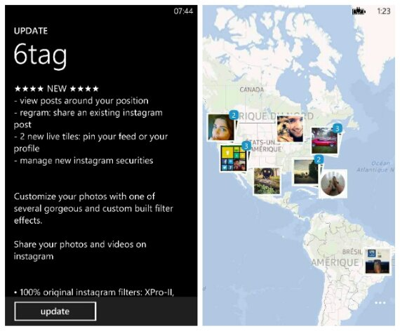 6tag for Windows Phone get a nice location based update