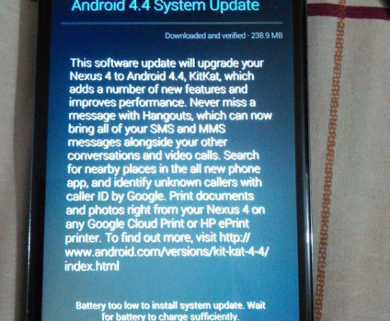 Nexus 4 OTA Update rolling out now