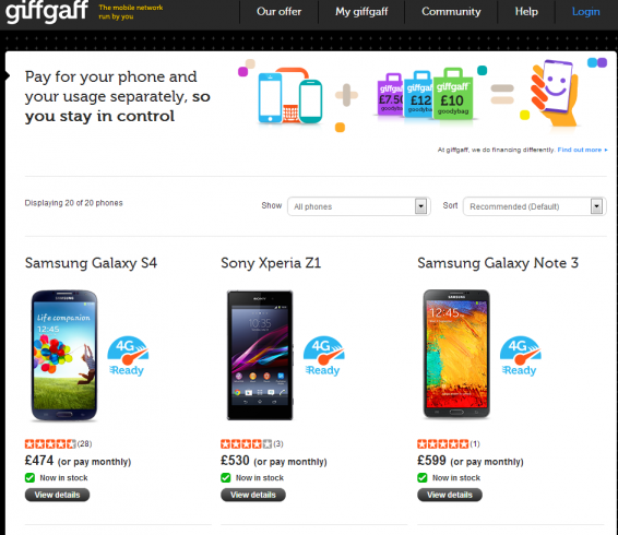 Giffgaff phone store is live, come on in
