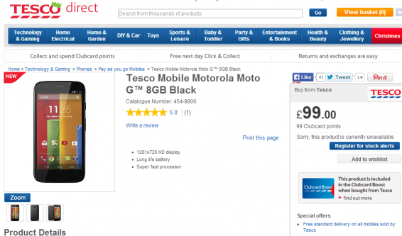 Tesco Mobile offering the Moto G for £99