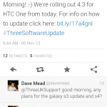 Update to Android 4.3 with the HTC One on Three