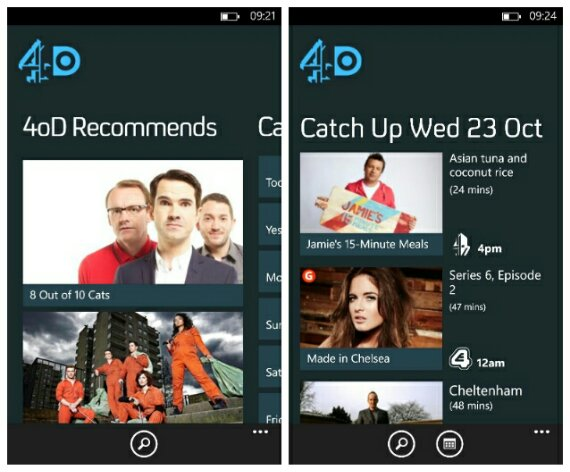 4oD TV catchup is now available for Windows Phone