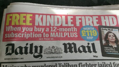 Get an over expensive Kindle with the Daily Mail