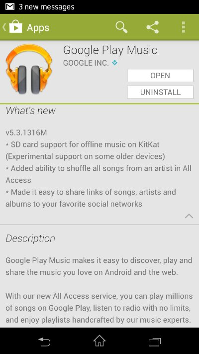Google Play Music updated. Offline music storage added