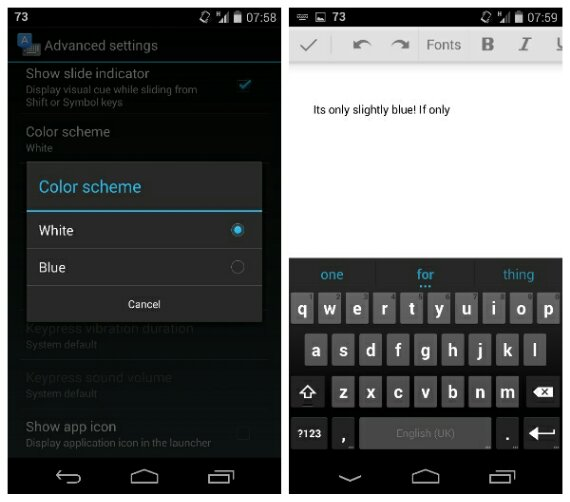 Google keyboard goes all blue after an update