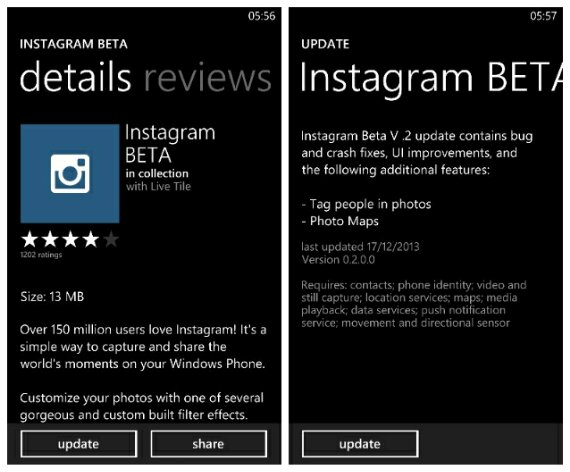 Instagram for Windows Phone gets updated