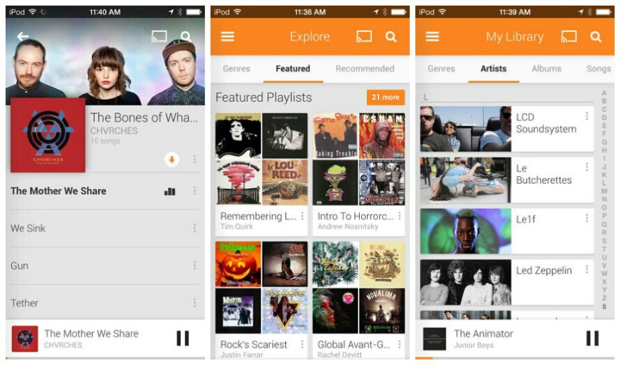 Google Play Music updated on iOS7 with new UI and more