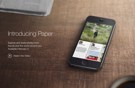 Facebook Paper app launch for iOS in US