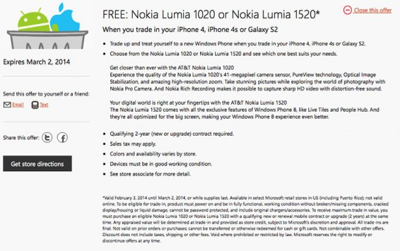 Microsoft giving free Nokia Lumia phones to Android and iOS owners