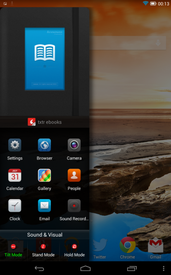 Lenovo Yoga 8 quick launcher screenshot