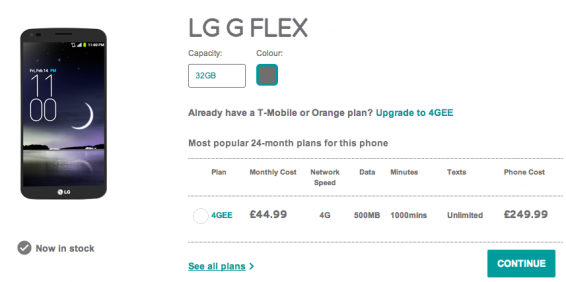 LG G Flex now on EE