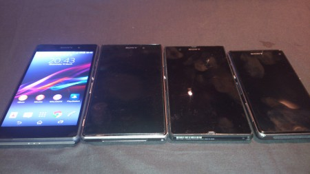 The Sony Z family - from left to right Z2, Z1, Z, Z1 compact