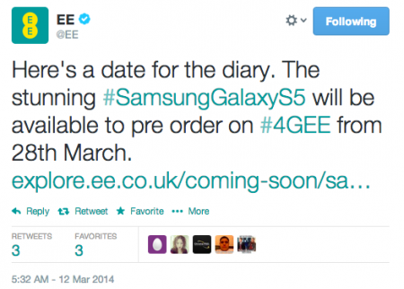 EE Galaxy S5 preorders start 28th March