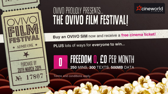 Free cinema ticket with Ovivo   Only one week left