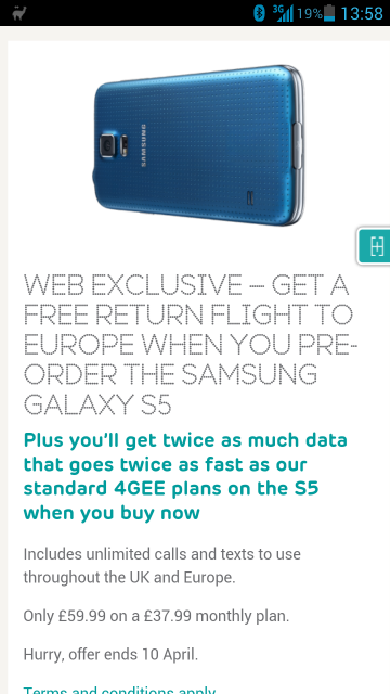 EE announce their pre order Samsung Galaxy S5 deal