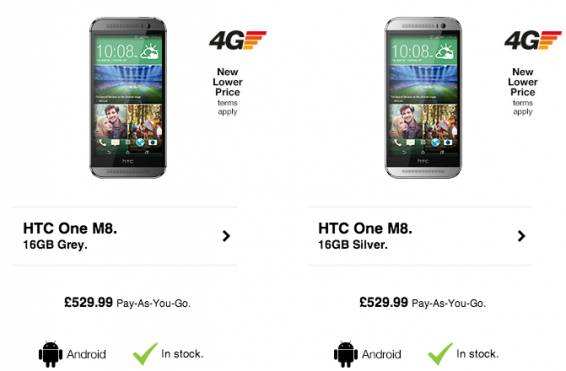 HTC One M8 gets price increase at Three