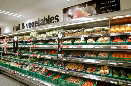 Fruit and vegetable aisle of Westbury Food store