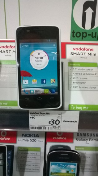 Vodafone Smart mini now just £30