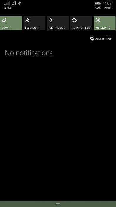 wp8.1 notification menu